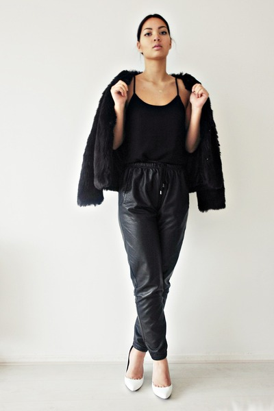 black faux leather the Sting pants - black faux leather pants - the Sting pants
