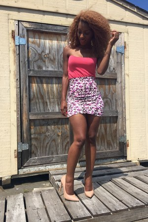 H&M skirt - salmon Forever 21 top - nude shoe republic LA heels