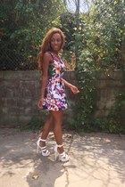 floral dress eShakti dress - leather shoe republic LA heels