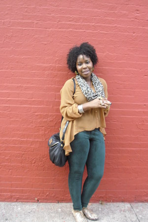 cut out back Audrey blouse - corduroy HUE leggings - H&amp;M scarf