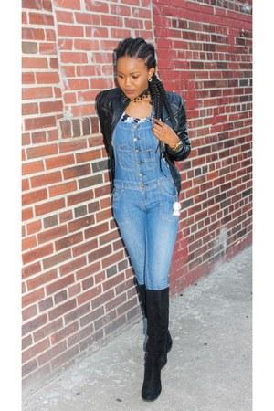 black jacket - black boots - blue jeans