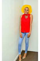 yellow African scarf - blue Levis jeans - ruby red cmeo top