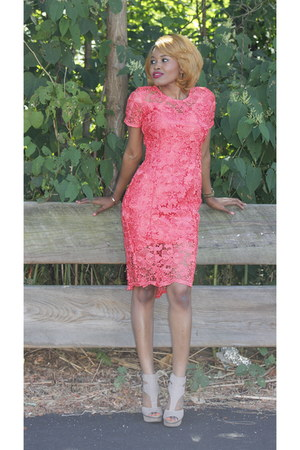 coral custom made dress