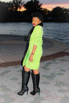 black Charlotte Russe boots - green thrifted vintage dress