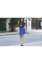 black Steve Madden shoes - black Michael Kors bag - blue Romwecom skirt