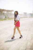 hot pink Roxy skirt - black Steve Madden shoes - white Zara shirt