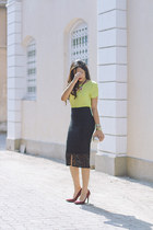 black asoscom skirt - maroon asoscom shoes - tan dvf bag