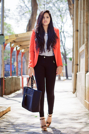 carrot orange Promod blazer - periwinkle Promod shirt - black Promod pants