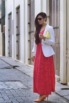 hot pink Moschino dress - carrot orange Zara shoes