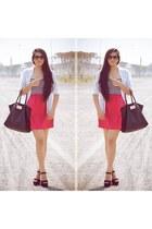 black Steve Madden shoes - hot pink Roxy dress - white Zara shirt