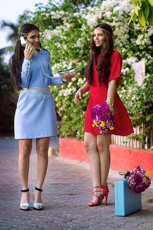 black H&M shoes - red River Island shoes - red Zara dress - sky blue Zara dress