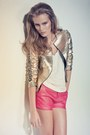 Pink-leather-shorts