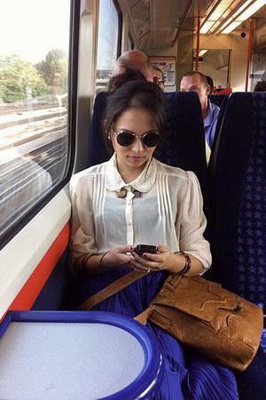 blue Fenwick skirt - brown from Nepal bag - ivory TK Maxx blouse