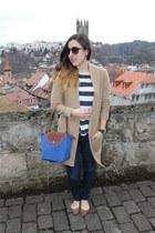 dark H&M jeans - blue longchamp bag - striped H&M t-shirt