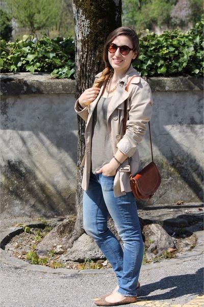 eggshell coat - sky blue Zara jeans - leopard H&M flats - dark khaki t-shirt