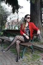 polka dots H&M tights - ruby red Target jacket - pieces flats