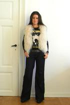 Ilse Jacobsen vest - vintage t-shirt - Hudson jeans - Zara belt