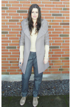 beige Zara coat - beige Uniqlo blouse - gray Zara pants - beige Zara boots