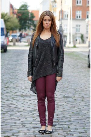 crimson waxed Zara pants - black leather Jofama jacket