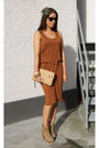 Orange-monki-dress-brown-h-m-belt-beige-bershka-shoes-beige-lanvin-purse-