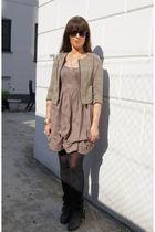 beige GINA TRICOT dress - beige Diane Von Furstenberg jacket - black Zara boots