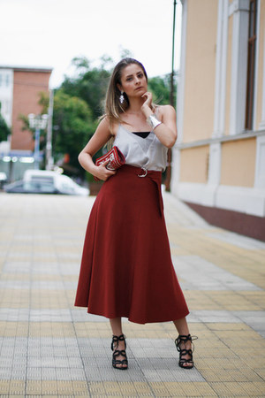 midi Zara skirt - Zara top - strappy Zara sandals