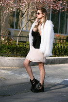 cut out BBup boots - embelished H&M dress - faux fur Bershka jacket