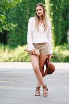 Stradivarius hat - Mango shirt - lace pull&bear shorts