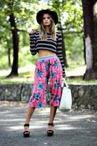 culottes Zara pants - H&M hat - platform Mango sandals - cropped Zara top