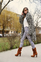 ISABEL MARANT POUR H&M coat - Mango boots - Mango shirt - glow fashion pants