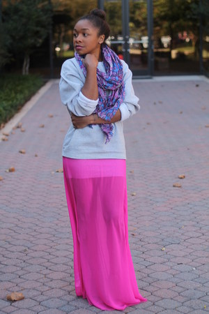 JCrew scarf - bcbg max azria dress - thrifted sweatshirt