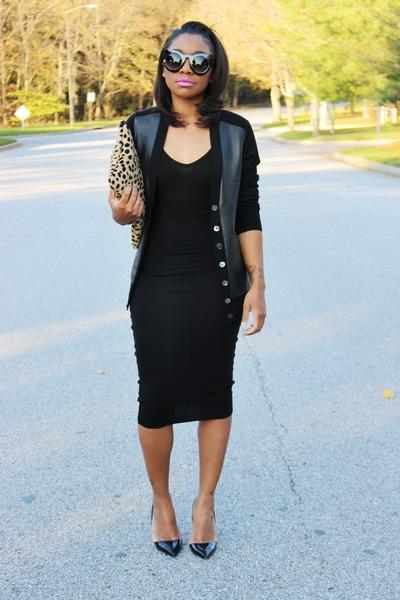 bcbg max azria dress - JCrew sweater - Love Cortnie bag - 80s Purple sunglasses
