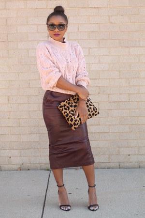 asos skirt - vintage sweater - Love Cortnie bag - Forever 21 sunglasses