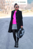 Anne Klein coat - ann taylor boots - Forever 21 sweater - Love Cortnie bag