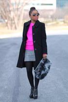 Anne Klein coat - ann taylor boots - Forever 21 sweater - Love Cortnie bag