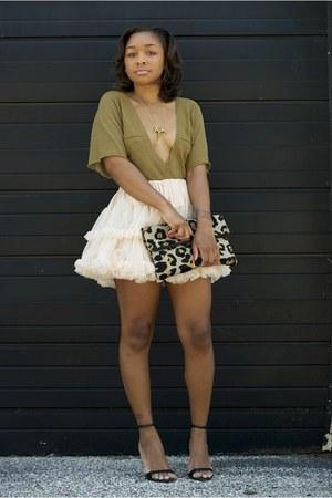 American Apparel skirt - Love Cortnie bag - Nordstrom top - Zara heels