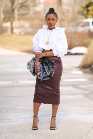 DIY hoodie - Love Cortnie bag - asos skirt - Zara heels