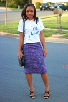 DIY shirt - JCrew bag - JCrew skirt - Charles Jourdan heels