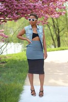 JCrew vest - Aldo sunglasses - Forever 21 top - asos skirt