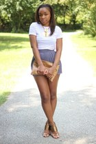 thrifted shorts - Love Cortnie bag - Urban Outfitters t-shirt - Nine West heels