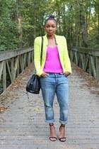 Zara jacket - JCrew jeans - Love Cortnie bag - JCrew top - Zara heels