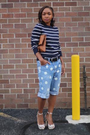 JCrew sweater - Love Cortnie bag - Urban Outfitters shorts - Zara heels