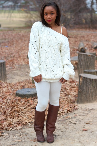 Urban Outfitters sweater - Modern Vintage boots - Forever 21 leggings