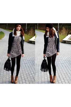 H&M dress - deezee boots - H&M scarf - H&M bag