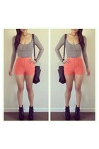 light orange shorts shoes unknown shorts