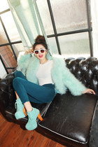 aquamarine perfact Stylenanda coat - navy fit Stylenanda pants