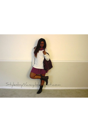 white sweater Mossimo jumper - dark brown combat boots Charlotte Russe boots