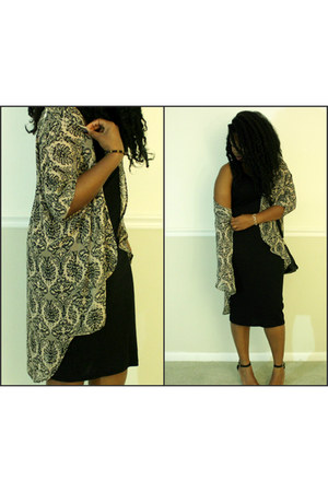 dark khaki kimono Love Culture blouse - black midi H&M dress