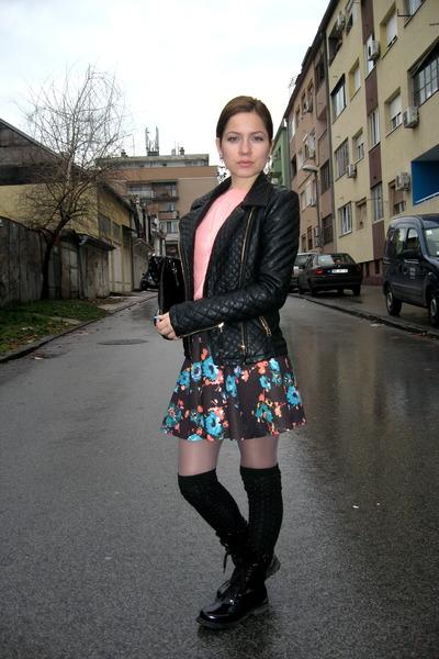 Floral Print Bershka Skirts, Combat Boots Ooh La La Boots ...