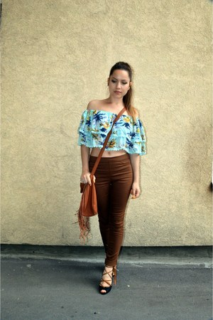 choiescom top - tan jeggings H&M jeans - fringe DIY bag - lace up heels